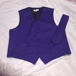 NWOT Purple Vest & Tie Set Sz Large